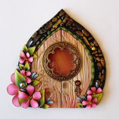 Fairy Door with a Window Pixie Portal Fairy Garden by Claybykim