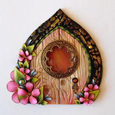 Fairy Door with a Window Pixie Portal Fairy Garden by Claybykim