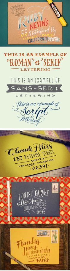 Envelope Address Hand Lettering Tutorial from Ladyfingers Letterpress