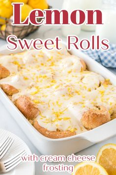 Lemon Sweet Rolls - Delicious yeasted buns filled with a sweet lemon filling and topped with a gooey cream cheese frosting. The perfect breakfast recipe! Sweet Roll Recipe | Lemon Sweet Rolls | Homemade Sweet Rolls | Lemon Breakfast Recipes Best Breakfast Recipes, Savory Breakfast, Sweet Breakfast, Brunch Recipes, Perfect Breakfast, Breakfast Pastries, Breakfast Dishes, Breakfast Ideas, Lemon Desserts