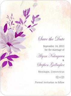 Purple Flower And Leaves Save The Date Card HPS011