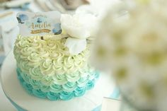Blue Sky, Pastel Blue Cake for Bridal shower