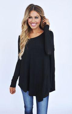 Asymmetrical Long Sleeve Top- Black - Dottie Couture Boutique