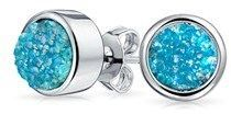 Bling Jewelry Dyed Blue Druzy Quartz Stud Earrings Rhodium Plated 8mm.