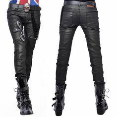 Men Black Gray Grey Sequin Slim Fit Gothic Punk Rock Fashion Pants SKU-11404244
