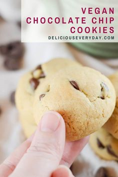 These vegan chocolate chip cookies are every bit as delicious as the original. They're soft, chocolatey, and ready in under 20 minutes! This just might be my new favorite vegan cookie. Made with applesauce and vegan butter, the cookie dough is rich and moist. And the dark chocolate chips are chocolatey and indulgent. Best Vegan Cookies, Vegan Chocolate Chip Cookies, Gourmet Cookies, Chocolate Chips, Bhg Recipes, Vegan Recipes, Dessert Recipes, Recipes Dinner, Healthy Vegan Desserts