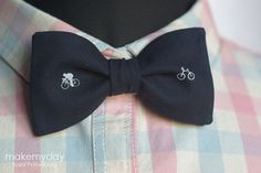 Bicycle Bow Tie / Men's Navy Bow Tie With White by MakeMyDaySpb, $27.00