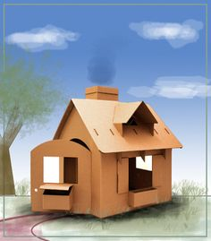 Cardboard Playhouse is a Wonderful, Green Holiday Gift for Younger Kids - katrin wedel - Cardboard Playhouse is a Wonderful, Green Holiday Gift for Younger Kids Cardboard playhouse house - Cardboard Playhouse, Cardboard Crafts, Cardboard Houses, Cardboard Furniture, Kids Crafts, Recycling Facts, Recycling Process, Corrugated Packaging, Corrugated Box
