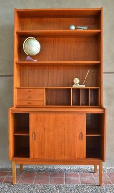 Practical Danish Modern TEAK SECRETARY BOOKCASE home office under 3'