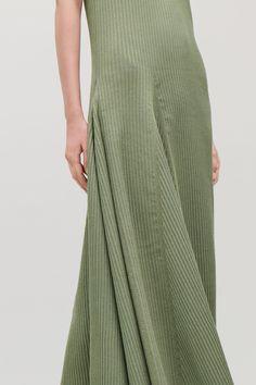 COS | Sleeveless cotton-rib dress Contemporary Fashion, Green Dress, Fashion Brand, Cos, Cotton, My Spring, Dresses, Women Wear, Green Gown