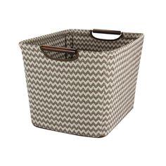 Amazon.com - Household Essentials Tapered Storage Bin with Wood Handles, Medium, Brown Chevron -