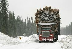 """Peterbilt Logging Truck, hauling a MEGA LOAD! ... Seeing this reminds me of my Old Boss Mike, when we hauled firewood.. """"Make it fit"""" !!"""