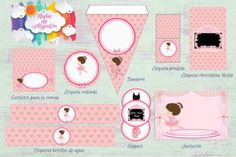 Kits imprimibles diseños variados Printables, Pink, Lollipops, Water Bottles, Parties Kids, Dancing Girls, Gymnastics, Custom Chocolate, Print Templates