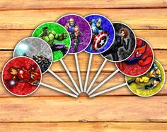 Marvel Avengers Cupcake Toppers - Digital Printable Cupcake Toppers (Iron Man, Thor, Hulk, Hawkeye, Captain America, Black Widow, Spider-Man, Wolverine)
