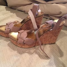 Michael Kors Tan Wedges Tan Michael Kors wedges! Beautiful wedges and only worn one time they were a bit too big for me I usually wear a size 8. These are a size 8 1/2. No scratches or marks, bottoms are hardy even look worn from one time wear. Michael Kors Shoes Wedges