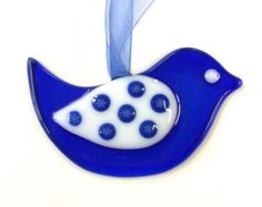 Fused Glass Bird Sun Catcher Ornament, Cobalt Blue & White with Snowflakes