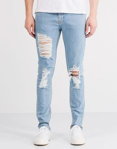 Pull&Bear - hombre - jeans - jeans slim fit con rotos - azul clar - 05683553-V2016