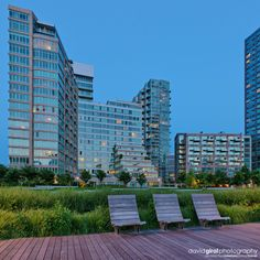 "Vertorama of Long Island Luxury ""The View"" Condos at dusk from Gantry Plaza State Park Quays, Queens, NYC"