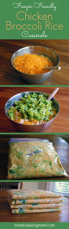Freezer Friendly Chicken Broccoli Rice Casserole -- this recipe is hands down one of our very favorite. It's easy to whip up, it's frugal, and it freezes well! This sounds like one to keep for freezer-friendly meals for giving. Make Ahead Freezer Meals, Freezer Cooking, Easy Meals, Freezable Meals, Bulk Cooking, Frugal Meals, Meals To Cook, Best Meals To Freeze, Crockpot Freezer Meals