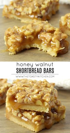 Honey Walnut Shortbread Bars by The Toasty Kitchen #shortbread #bars #dessert #walnuts #honey #honeycaramel #caramel #rich #homemade #fromscratch #recipe Nut Recipes, Best Dessert Recipes, Baking Recipes, Sweet Recipes, Kitchen Recipes, Candy Recipes, Yummy Recipes, Yummy Food, Summer Desserts For Parties