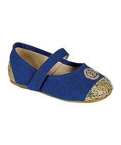 Love this Blue Gold Toe Lovely Embellished Mary Jane Flat by QQ Girl on #zulily! #zulilyfinds