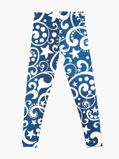 'White On Blue Holiday Abstract Design' Leggings by CreatedProto Best Leggings For Work, Best Christmas Gifts, Holiday, Trick Or Treat Bags, Made Goods, Workout Leggings, Artwork Prints, Cool Things To Make, Fun Workouts