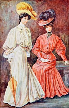 Reading in latest 1904 fashion. The Delineator, October 1904. Butterick Publishing Co. One of the features of the magazine was its color prints of the latest fashions, with enough information provided so that the careful clothing-maker could duplicate them.