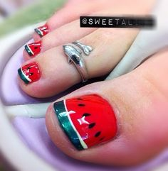 Watermelon toenail designs 11 toenails summer ideas - diy nail art designs by marcy Toe Nail Art, Nail Art Diy, Diy Nails, Love Nails, Pretty Nails, Do It Yourself Nails, Gel Nagel Design, Watermelon Nails, Summer Toe Nails