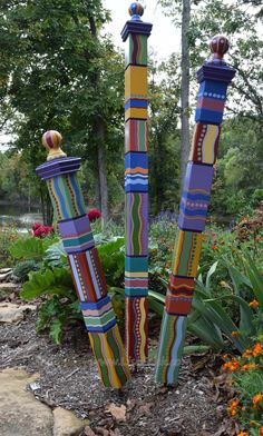 Garden Totems Hand Painted Garden Art Garden Sculpture & Etsy Garden Totems Hand Painted Garden Art Garden Sculpture & Etsy The post Garden Totems Hand Painted Garden Art Garden Sculpture Unique Garden, Colorful Garden, Jardin Decor, Peace Pole, Garden Poles, Bright Color Schemes, Garden Projects, Art Projects, New Art