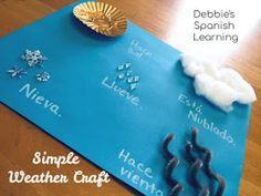Debbie's Spanish Learning: A Simple Weather Craft for Language Learners Spanish Teacher, Teaching Spanish, Spanish Class, How To Speak Spanish, Spanish Art, Learn Spanish, Languages Online, Foreign Languages, Simple Weather