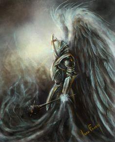 El caballero Zangrid con su armadura, listo para luchar.  La Espada Sagrada.