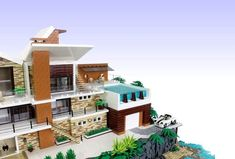 Lego Mansion, Grand Luxe, Lego Furniture, Construction Area, Lego Pictures, Infinity Edge Pool, Lego Design, Lego Architecture, Lego House