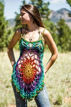 Crochet bouffée tunique mandala / par aMandalaCreations sur Etsy, $60.00