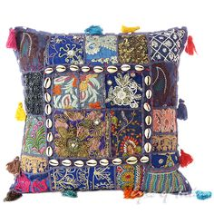 Blue Patchwork Decorative Bohemian Throw Pillow Cushion Cover with Shells - 16""
