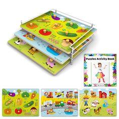 Puzzles & Rack Wooden Toddler Puzzles - 3-pk Farm Veggies Vehicles
