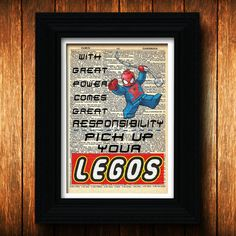 Lego Spiderman poster - Dictionary art print, Spiderman quote, Marvel Comics, Super hero, Lego men, Spiderman print, kid room decor, Legos $10