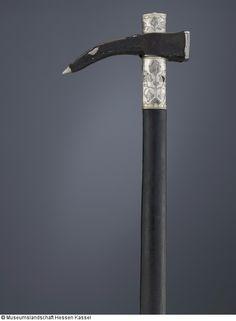 Боевой молот (молот Райтер) с кожаным чехлом, вал с выгравированным Silbermontierungen - каталог Османской оружия музей Гессен Кассель