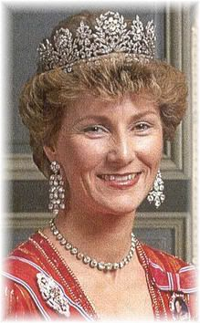 Then Crown Princess Sonja with Queen Josephines diamond tiara, ca 1990