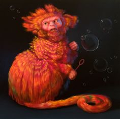 "Monkey Brains - The Bubble 22"" x 22"", oil on panel, 2008, ©Laurie Hogin"