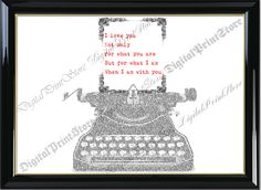 """Love Quote Wedding Typography Typewritter Word Printable of """"Typewritter Quote 001"""" Wall Art Decor Printable Digital Instant Download by DigitalPrintStore on Etsy"""