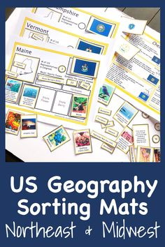 Looking for a fun, hands on activity for students to review their knowledge of US states?  This set contains sorting mats for 20 states. Students will match the picture, flag, capital and major cities, nickname, state symbols, and so much more! #peanutbutterfishlessons #states #geography
