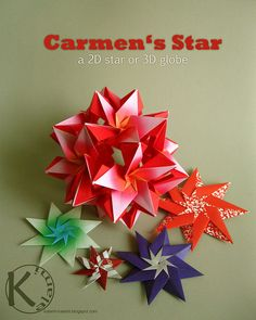 Carmen's Stars by Kalami, via Flickr 3d Globe, Origami Ornaments, Advent, Christmas Origami, Creative Art, Card Making, Christmas Decorations, Paper Crafts, Gift Wrapping