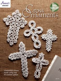 Cross Ornaments These 5 beautiful crosses are stitched using size 10 crochet thread. They make wonderful bookmarks, ornaments and gifts. Sizes range from 3 x 5 to x Annie's Crochet, Crochet Teddy, Crochet Cross, Crochet Gifts, Filet Crochet, Crochet Flowers, Crochet Coaster, Doilies Crochet, Crochet Edgings