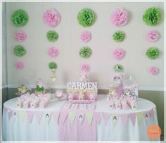 #cadytable #mesa #dulce #comunion #party #rosa #verde Cake, Desserts, Food, Green Rose, Candy Buffet, Fiestas, Sweets, Tailgate Desserts, Pie
