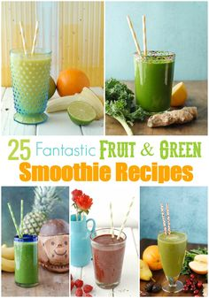 25 Fantastic Fruit & Green Smoothie Recipes to Start the New Year Healthy Green Smoothies, Green Smoothie Recipes, Yummy Smoothies, Juice Smoothie, Smoothie Drinks, Breakfast Smoothies, Nutribullet Recipes, Healthy Recipes, Fruit