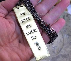My life my rules F U ADULT cuss necklace brass handstamped pendant by helenshmcreations on Etsy