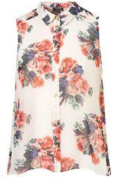 Floral Print Drop Back Shirt