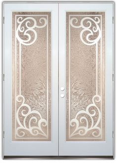 Concorde 3D - Double Entry Doors Hand-crafted, sandblast frosted and 3D carved.  Available as interior or entry door in 8 woods and 2 fiberglass. Slab door or prehung any size, or as glass insert only.  Our fun, easy to use online Glass and Door Designer gives you instant pricing as YOU customize your door and glass!  When you're all finished designing, you can place your order right there online!  Doors ship worldwide from Palm Desert, CA