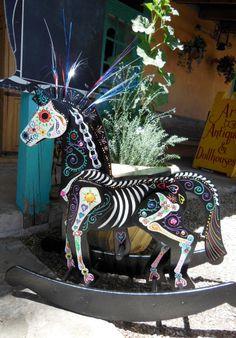 Day of the Dead Sugar Skull Rocking Horse on Etsy, $300.00