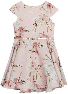 3c423ede54b0 Baker by Ted Baker Girls  Light Pink Floral Print Belted Prom Dress